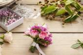 Steps of making wrist corsage. Florist at work. — Stock Photo