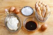 Składniki na ciasto tiramisu — Zdjęcie stockowe
