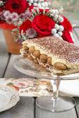 Valentines day party: tiramisu cake — Stock Photo