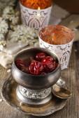 Chocolate dessert with cherries — Stock Photo