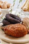 Smoked ham and sausage — Stock Photo