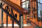 Wooden hand-rail close-up partially defocused diagonal — Stock Photo