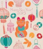 Chinese new year card, lanterns and lucky cat. — Stock Vector
