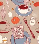 Vintage tea time background. — Stock Vector