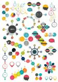 Set of modern flat circle, round info graphic schemes. Template for print or web page. — Stockvektor