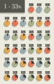 Collection of infographic percentage circle charts.  Vector isolated elements. — Stock Vector