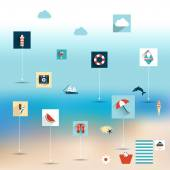 Summer sun beach. Icon collection concept on blur background. — Stock Vector