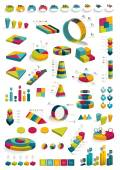 Collections of infographics 3D design diagrams. — Stock Vector