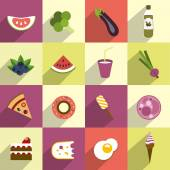 Collection of diet and fat food. Fruit, vegetable, cakes, sweets set. — Stock Vector