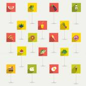 Simply minimalistic flat food and diet symbol icon set. Color shadows pictograms. — Stock Vector