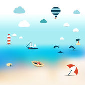 Summer sun beach. Icon collection concept on blur background. — 图库矢量图片
