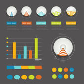 Minimalictic modern infographic folder with diagrams, arrows, speech bubbles and graphs. Flat vector. — Vector de stock