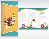 Food brochure design. Healthy and unhealthy food.Vector folder. — Vector de stock