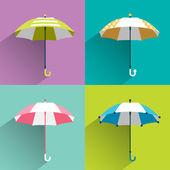 Colored umbrellas. Flat vector sign. — Stock Vector