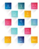 Flat stroke icons. Set of colorful business needs icons. — Stock Vector