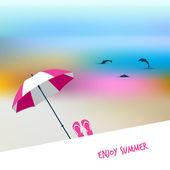 Summer sunny beach day. Vector illustration. — Stock Vector