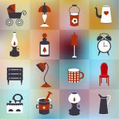 Retro style flat icon on blur background. Vector vintage design. — Stock Vector