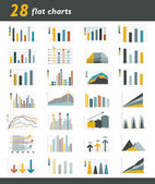 Set of 28 flat charts, diagrams for infographic. Vector. — Vettoriale Stock