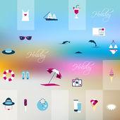 Journée de plage ensoleillée d'été. illustration vectorielle. — Vecteur