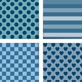 Set of four simply flat geometric patterns. Seamless blue background. — Stockvektor