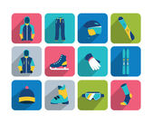 Winter sport and hiking flat icon collection. — Stock Vector