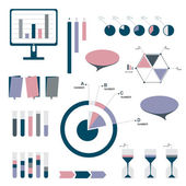 Flat infographic set of charts, bubbles, diagrams. vector editable elements. — Stock Vector