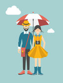 Hipster young couple concept. Vector illustration. — Stock Vector
