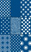 Set of nine simply flat geometric patterns. Blue background. — Stockvektor