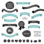Set of simply flat vintage ribbons. Vector. — Stockvektor