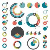 Set of round charts. Various color pie graph. — Stock Vector