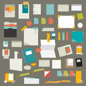 Set of stickers, reminders cards. Flat vector collection. — Stock Vector
