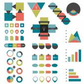 Infographic set of flat diagrams, speech bubbles, ribbons and web buttons. Vector. — Vettoriale Stock