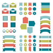 Infographic set of flat diagrams, speech bubbles, ribbons and web buttons. Vector. — Vector de stock