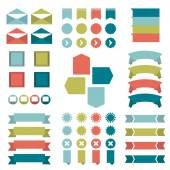 Infographic set of flat diagrams, speech bubbles, ribbons and web buttons. Vector. — Stockvektor