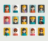 Big set of avatars profile pictures flat icons. Vector illustration. — Vector de stock