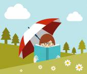 Girl reading a book near the forest. Flat vector. — Stock Vector