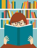 Girl reading a book in a library. Flat vector. — Stock Vector