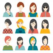 Woman avatar pictures. Flat portrait. Vector. — Stock Vector