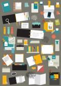Set of reminders, paper stickers, work office tools, folders. Vector. — Stock Vector