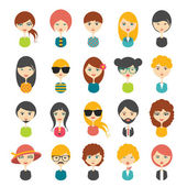 Big set of avatars profile pictures flat icons. Vector stylized illustration. — Stock Vector