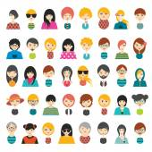 Big set of avatars profile pictures flat icons. Vector illustration. — Stock Vector