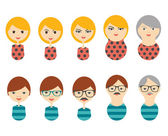 Profile heads. Men, woman aging. Generation growing up icon. Men, woman of all ages period. — Stock Vector