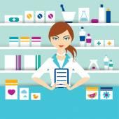 Jonge apotheek scheikundige meisje permanent in drogisterij. Platte vector. — Stockvector