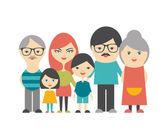 Multi generation family. Parents, children and grandparents. Flat design. — Stock Vector