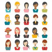 Big set of multi color people heads. avatr profile illustrations. — Stock Vector