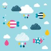 孩子们墙上的纸图案。五颜六色的鱼类和云. — 图库矢量图片