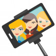 Illustration of three young girls making selfie photo. Vector. — Stock Vector #69103843