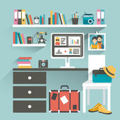 Office workplace with computer and book shelves. Hipster office. Flat design vector illustration. — Stock Vector