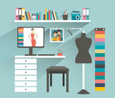 Office workplace. Fashion designer office. Flat design vector illustration. — Stock vektor