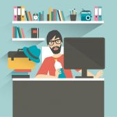 Colleague office workplace. Flat vector illustration. — Stock Vector